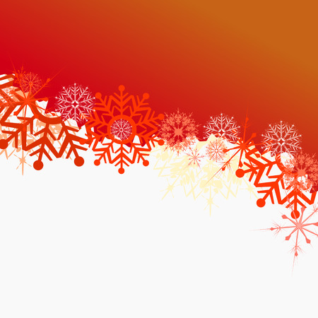 adorning: red and orange snowflakes illustration background