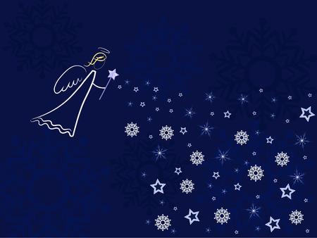 cristian: white angel over dark blue background Stock Photo