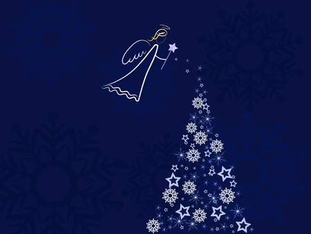 cristian: white angel over dark blue background snowing on a christmas tree Stock Photo