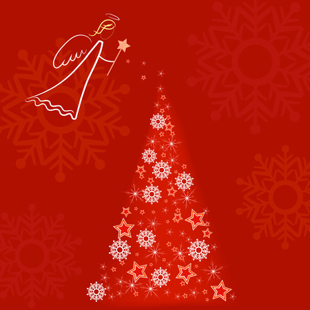 white angel over red background snowing on a christmas tree