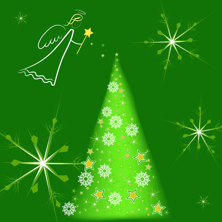 white angel over green background snowing on a christmas tree Stock Photo