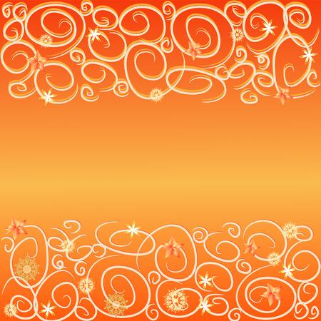 adorn: adornos azules sobre fondo naranja