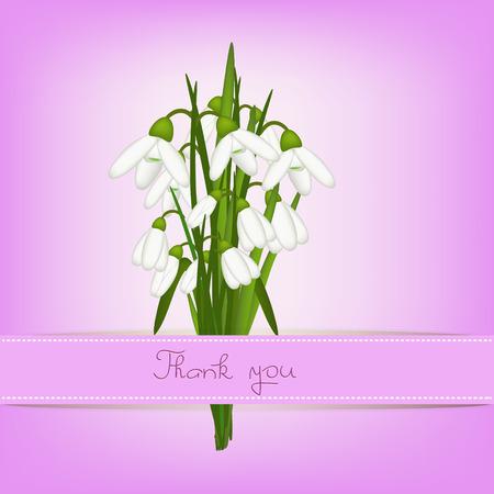 snowdrop: snowdrop thank you card illustration