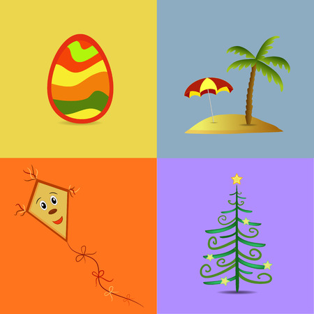 easter island: colorful four seasons symbols illustration Illustration