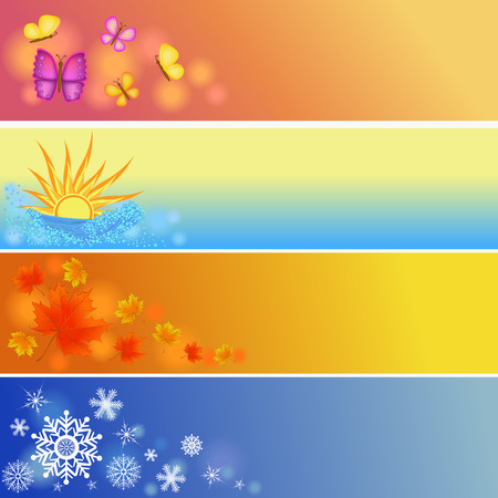 colorful four seasons symbols illustration Vector