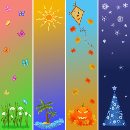 colorful four seasons symbols illustration bookmark Vector