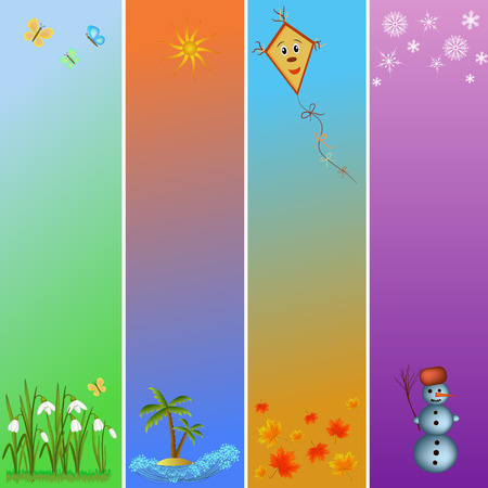 colorful four seasons symbols illustration Vector