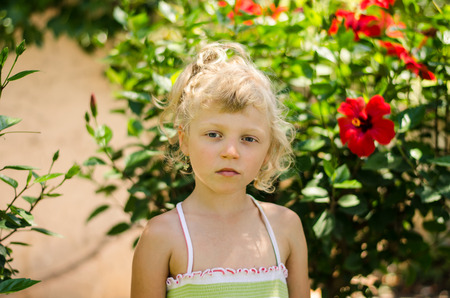 beautiful blond girl portrait image photo