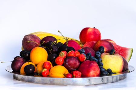 bilberries: group of strawberry, cherry, bilberries, apple, banana, plums, nectarine