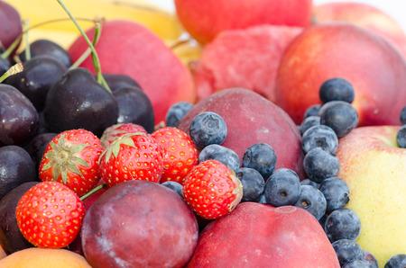 bilberries: group of strawberry, cherry, bilberries,  plums, nectarine