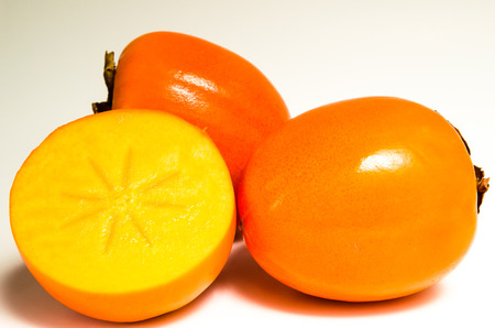 orange persimmon fruit isolated image