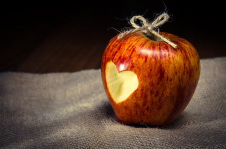 red apple with heart on it Stock Photo
