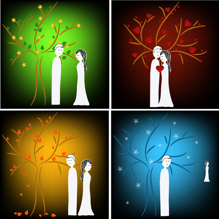 man and woman couple illustration in story of love during four seasons Vector