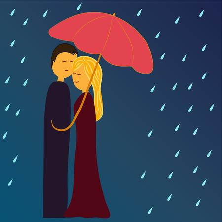 sotto la pioggia: l'uomo e la donna sotto l'ombrello in pioggia