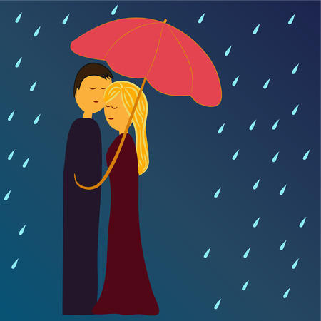 couple embrace: man and woman under umbrella in rain