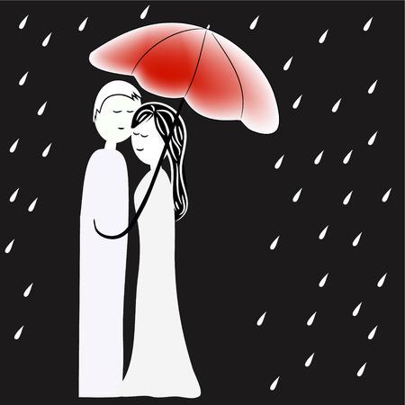 in: man and woman under umbrella in rain