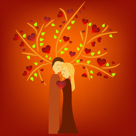 man and woman illustration under tree with hearts Vector