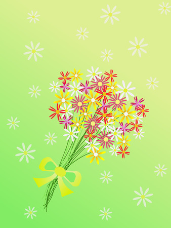 bouquet of flowers on green background Vector