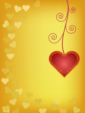 adorn: coraz�n rojo adornan sobre fondo naranja Vectores