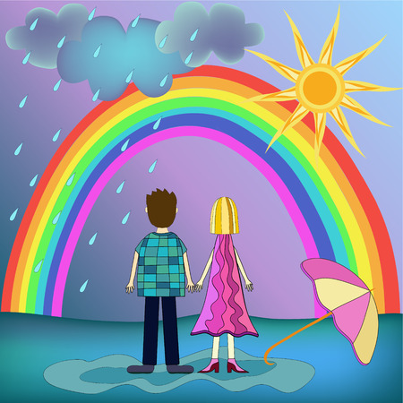 couple in rain: girl and boy back view and rainbow illustration Illustration