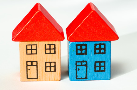 two wooden houses image isolated