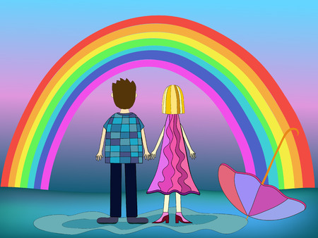 back view man: girl and boy back view and rainbow illustration Illustration