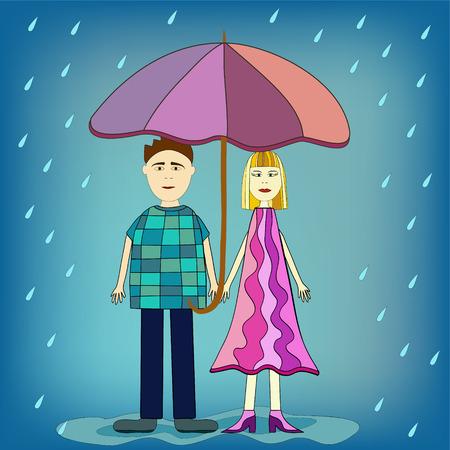 uomo sotto la pioggia: ragazza e ragazzo sotto ombrello illustrazione