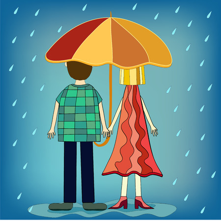 back to back couple: girl and boy under umbrella illustration