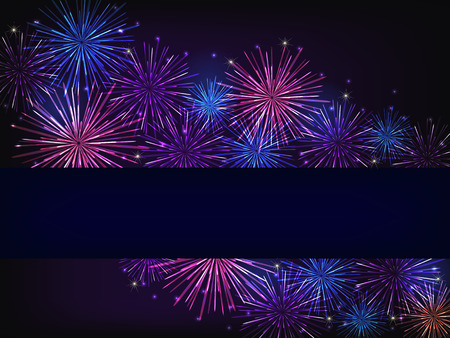 fireworks show: colorful fireworks over dark background Stock Photo