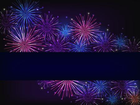 violet background: colorful fireworks over dark background Stock Photo