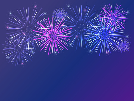 colorful fireworks over dark background photo