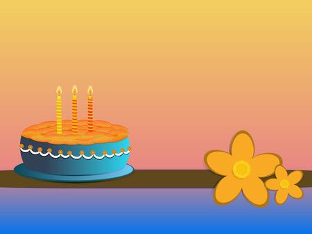 pastel feliz cumplea�os: naranja y azul pastel de cumplea�os feliz ilustraci�n