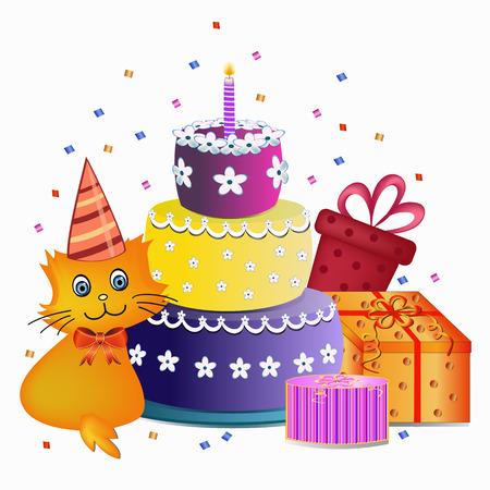 pastel feliz cumplea�os: colorido pastel de cumplea�os feliz, el gato y el presente ilustraci�n