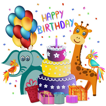 colorful happy birthday cake, elephant, giraffe, parrot and  present illustration Vector