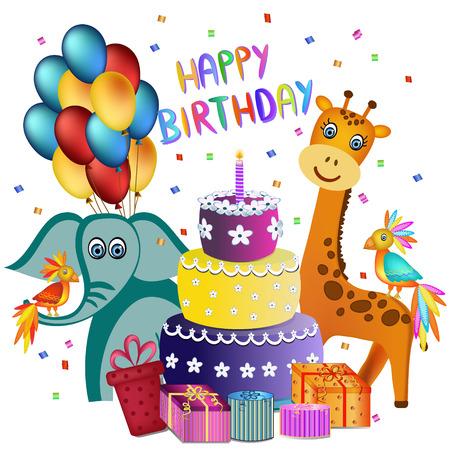 pastel feliz cumplea�os: colorido pastel de cumplea�os feliz, elefante, jirafa, loro y presente ilustraci�n