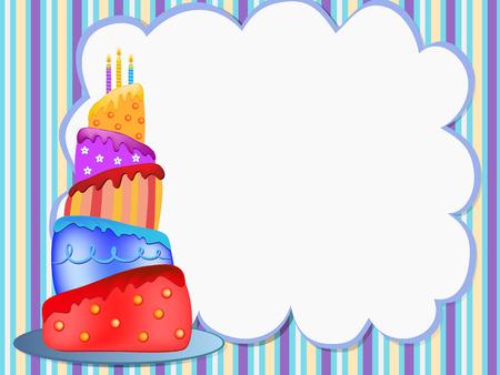 kolorowa ilustracja szczęśliwy tort urodzinowy