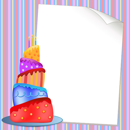 colorful happy birthday cake  illustration