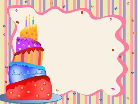 happy birthday cake: colorido pastel de cumplea�os feliz ilustraci�n