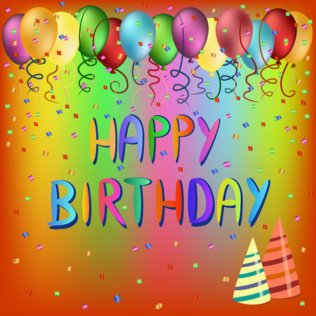 colorful happy birthday words and balloons  illustration Vector