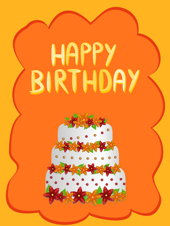 pastel feliz cumplea�os: pastel de cumplea�os feliz con flores ilustraci�n