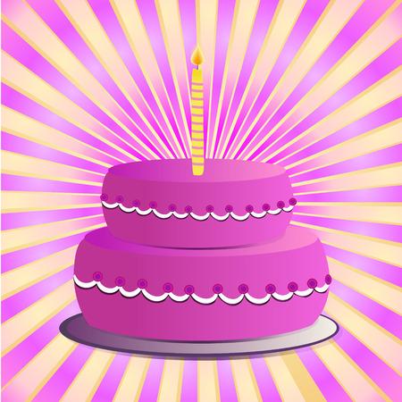 pastel feliz cumplea�os: rosa pastel de cumplea�os feliz con la ilustraci�n de la vela Vectores
