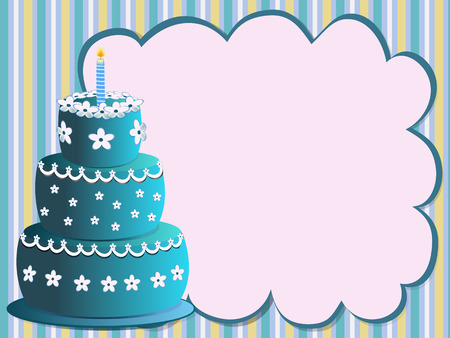 happy birthday cake with flowers illustration