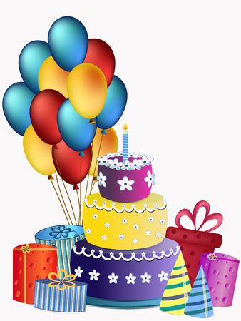 pastel feliz cumplea�os: Torta del feliz cumplea�os y presente ilustraci�n Vectores