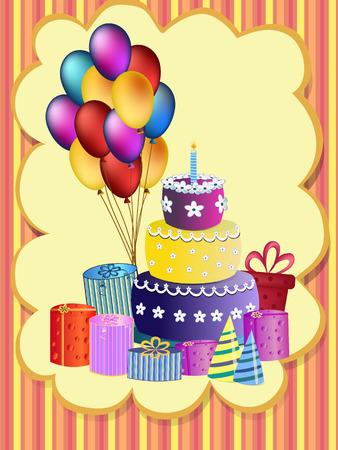 pastel feliz cumplea�os: pastel de cumplea�os feliz, globos y presente ilustraci�n Vectores