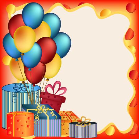 happy birthday cartoon: colorful happy birthday balloon and  present illustration Illustration