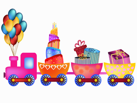 colorful happy birthday train with cake, balloon and  presents illustration Vector