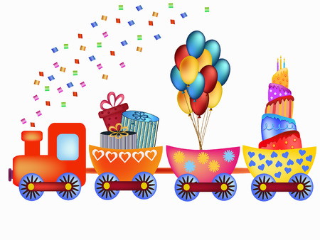birthday train: colorful happy birthday train with cake, balloons and  presents illustration