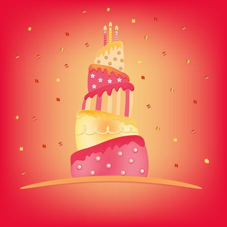 pastel feliz cumplea�os: rosa amarilla feliz cumplea�os pastel de ilustraci�n