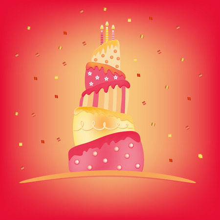 yellow pink happy birthday cake  illustration Vector