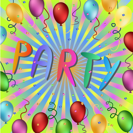 party time: colorful party time words illustration